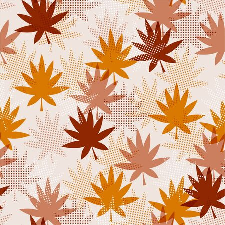 Stylish Modern seamless pattern of maple leaves with fill-in polka dots shape  Design for fashion,fabric, web, wallpaper, and all prints on light beige background color