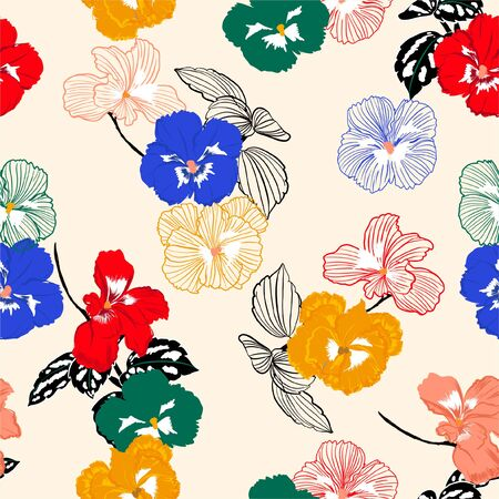 Colorful pansy flower with stylish outline seamless pattern ,Design for fashion,fabric,web,wallpaper ,and all graphic type on sweet light cream background color