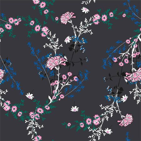 Trendy many kind of Floral seamless pattern in the garden . Botanical full blooming Motifs  vector texture.Design for fashion,fabric,web,wallpaper ,wrapping and all prints on dark grey background. Illustration