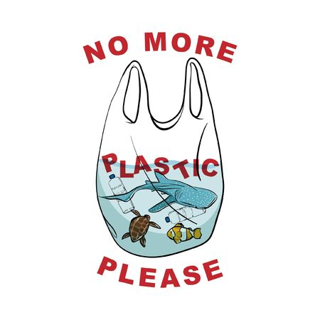 "Say no to plastic , sea animal in the plasictic bag  with wording 'NO MORE PLASTIC PLEASE""  in hand drawn vector design Design for save the world , no plastic bag campaign and all graphic used ,on white background color Ilustração"