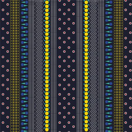 Colorful and trendy vertical striped from , geometric, lines , nautical polka dots,circle ,tribal ,seamless pattern in vector ,Design for fashion fabric,web, wallpapper ,wrapping, and all graphic used on nayblue background Иллюстрация