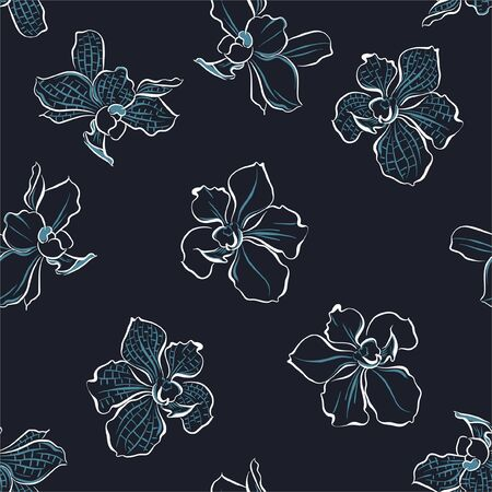 Moden hand drawn line orchid flowers with random repeat ,Design for fashion,fabric,wallpaper,web,and all prints on dark navy blue background color