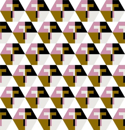 """Beautiful Seamless pattern in big """" T """" typo decoration with gemetric play form Design for fashion, fabric,web ,wallpaper wrapping and all prints reto mood"""