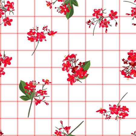 Red blooming garden flowers on hand drawn window check or grid seamless pattern vector scatter repeat for fashion,fabric ,and all prints on white