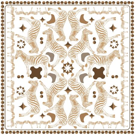 Scarves  zebra safari mixed with polka dots  prints monotone in light beige seamless pattern in vector ,Design for fashion , fabric, web,wallpaper, and all prints on white Иллюстрация