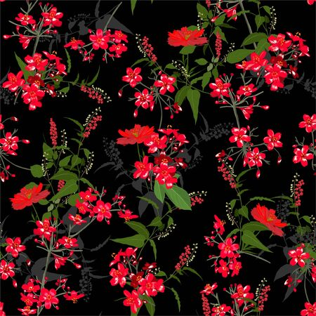 Beautiful Red  garden Flower pattern . Botanical Motifs scattered random. Seamless vector texture. For fashion prints. Printing with in hand drawn style on black background color