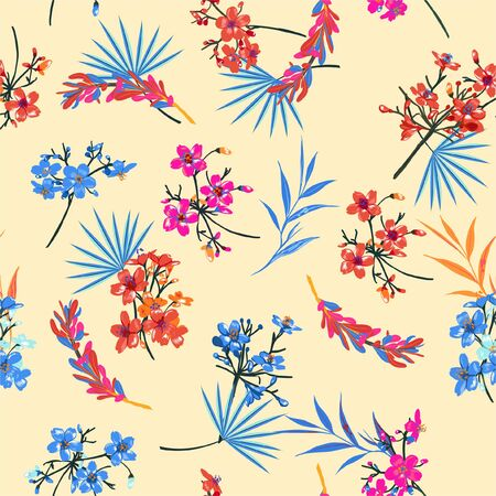 Beautiful retro  garden Flower pattern . Botanical Motifs scattered random chinese mood. Seamless vector texture. For fashion prints. Printing with in hand drawn style on light beige background color