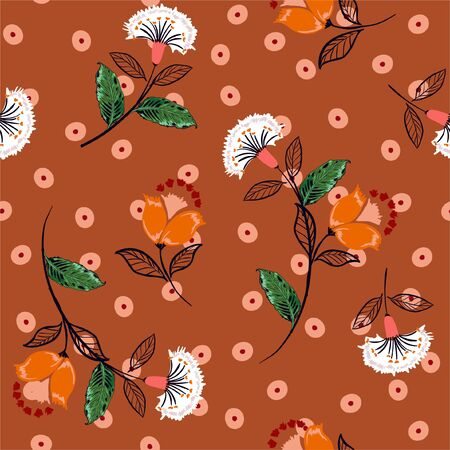 Beautiful hand drawn boho flowers  on irregular polka dots seamless pattern vector ,Design for fashion , fabric, web ,wallpaper, wrapping and all prints on retro stylish brown background color