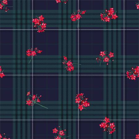 Beautiful winter black tartan layer on red little flowers seamless pattern in vector 向量圖像