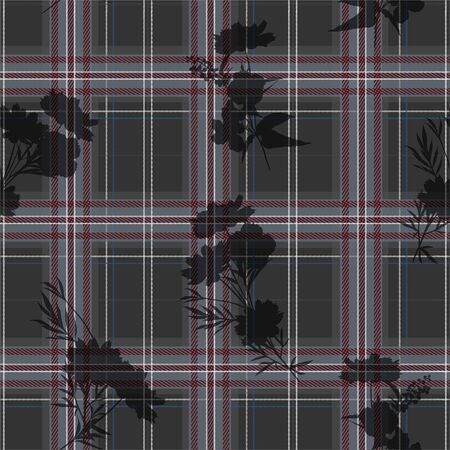 Stylish modern tartan layer on silhouette flowers seamless pattern, vector illustration