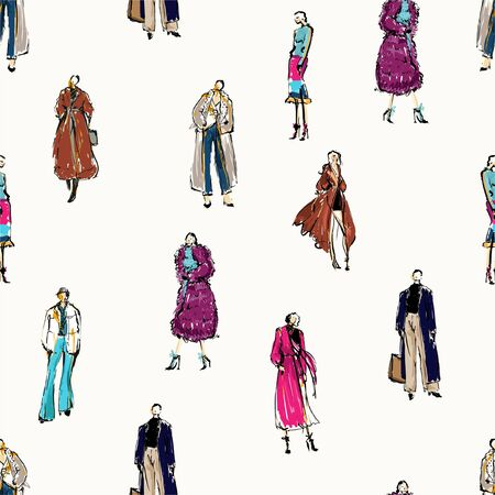 Seamless pattern Hand drawn beautiful Fashion hand drawn sketch in winter collection. Stylish design in illustration EPS 10 ,Design for fashion ,fabric and all graphic type on light beige color