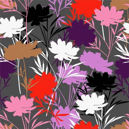 Colorful modern meadow silhouette flower seamless pattern in vector ,Design for fashion ,fabric, web, wrapping ,wallpaper and all prints on dark grey background color