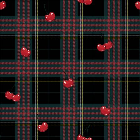 Cute classic scottish tartan red and green layer on red cherries seamless pattern in vector 向量圖像