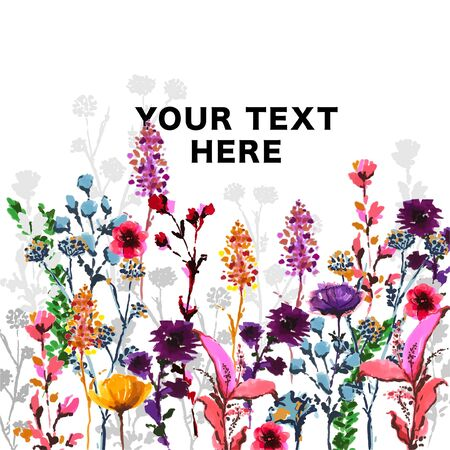 "Beautiful hand drawn and marker pen sketch in vector colorful garden ,Design for fashion , fabric, wallpaper,backdrop,card,invitation and all graphic type on white ,with wording "" YOUR TEXT HERE"""