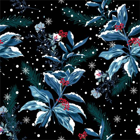 Seamless pattern vector of winter snow in the garden flower night delicate soft and beautiful mood design for fashion,fabric,wallpaper,and all prints on black background color