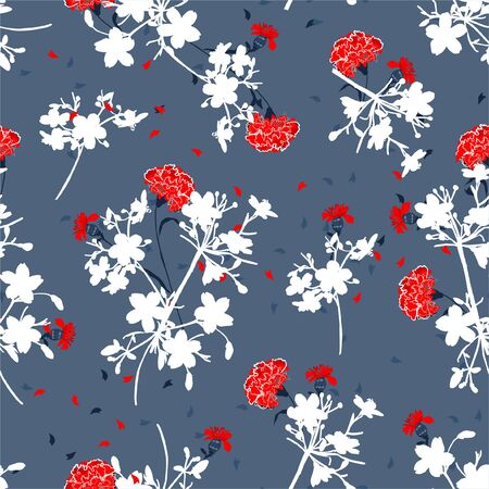 Beautiful silhouette botanical plants with fresh red canation flower seamless pattern in vector design,For fashion , fabric,web,wallpaper,wrapping and all prints on smoke blue background color.