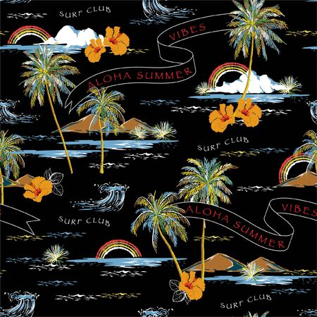 Trendy Summer Beautiful seamless island pattern on black background. Landscape with palm trees, beach , hibiscus flower,flag,mountain and ocean vector hand drawn style.