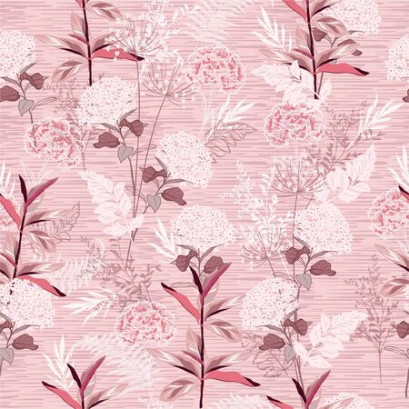 Soft and gentle blooming hydrangea and garden florals and botanicl plants hand drawn style seamless pattern in vector ,Design for fashion,fabric,web,wallpaper,wrapping and all prints on light pink stripe texture background Stock Illustratie