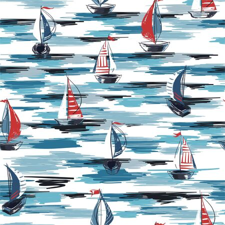 Hand drawn brush stroke sailor boat in the ocean seamless pattern