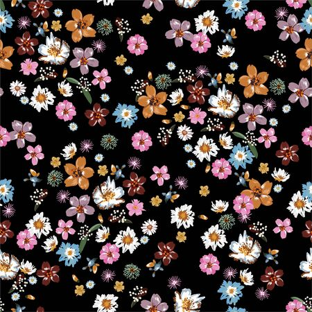 Colorful and stylish of liberty small booming floral and meadow flowers seamless pattern 写真素材 - 134310168