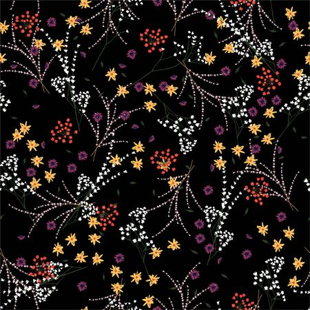 Beatiful and trendy of liberty small booming floral and meadow flowers seamless pattern in vector,Dessign for fashion,fabric,wallpaper,wrapping and all prints on black background.  イラスト・ベクター素材