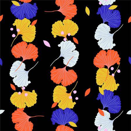 Trendy  colorful Vector Illustration vertical stripe ginkgo.Seamless pattern