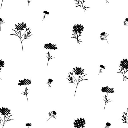 Modren black and white silhouette flower fill -in with polka dots seamless pattern,Design for fashion,fabric,web,wallpaper and all prints on white
