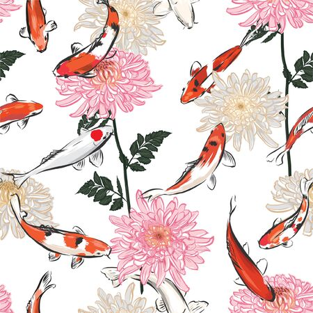 Hand drawn Seamless japanese blooming flowers pattern background with koi carp fish, Design for fashion,fabric,web,wallpapers,wrapping and all prints on white