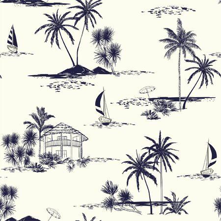 Trendige handgezeichnete Insel Vektor nahtlose Muster Vintage Stimmung mit Meer, Sonne, Palmen, Segelboot, Himmel Die Sommerstimmung illustration.Design für Mode, Stoff, Tapeten und alle Drucke auf cremefarbenem Hintergrund.