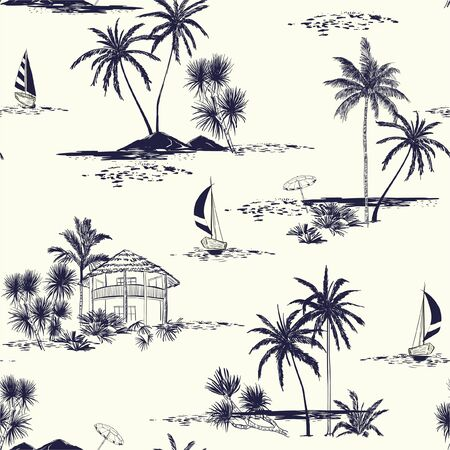 Trendy hand drawn island vector seamless pattern vintage mood wih sea,sun ,palm trees, sailboat ,sky The Summer mood illustration.Design for fashion,fabric,wallpaper and all prints on cream background.