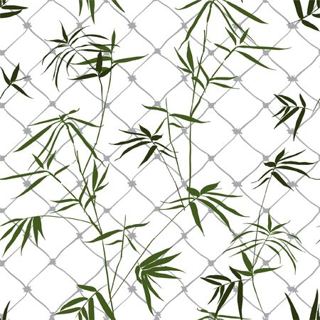 Stylish Seamless pattern wallpaper of green bamboo with the cage on white background color Illustration