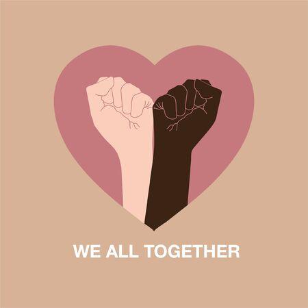 """El símbolo de la mano para las vidas negras importa protesta para detener la violencia hacia los negros junto con la forma del corazón, redactando """"TODOS JUNTOS"""". Lucha por los derechos humanos y no el racismo"""