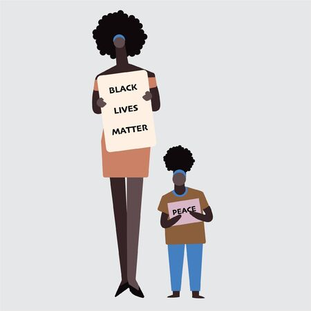 Mum and her child in Black Lives Matter protesters fight for human rights against racism, stop violence to black people.