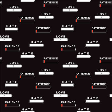 Funny Emotion symbol in battery charge,LOVE, HATE, PATIENCE, differences level of battery seamless pattern