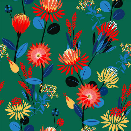 Colourful geometric gardens flower blooming florals mood seamless pattern in