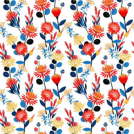 Colourful geometric gardens flower blooming florals mood seamless pattern in vector