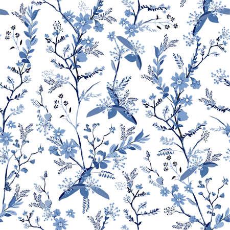 Beautiful monotone hand drawn botanical florals on blue shade seamless pattern