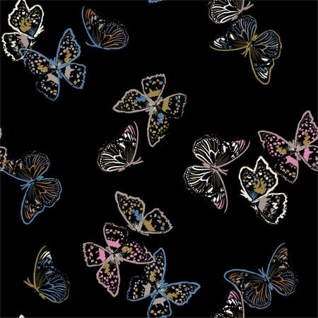 Seamless pattern with flying paint brush  butterflies
