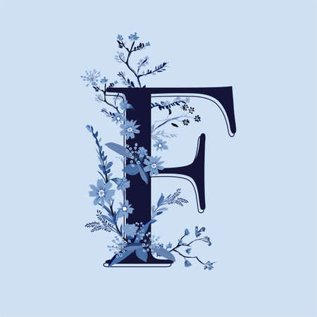 Alphabet modern  F font made of hand drawn monotone blue flowers