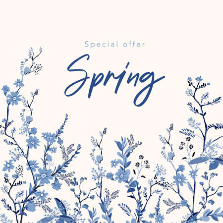 Spring banner background with beautiful hand drawn monotone blue florals