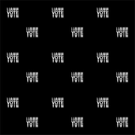 Seamless pattern Minimal black and white Vote text election day Usa debate of president voting 2020. Çizim
