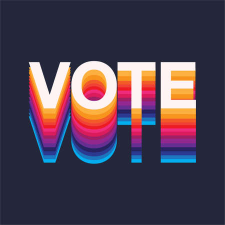 Colourful rainbow Vote text election day Usa debate of president voting 2020. Election banner design Çizim