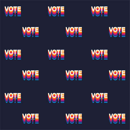 Seamless pattern Colourful rainbow Vote text election day Usa debate of president voting 2020.