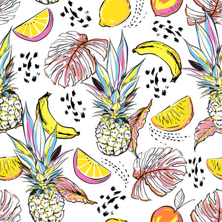 Colourful hand drawn sketch summer fruits ,pineapple, orange, lemon and leaves seamless pattern in vector Disign for all fashion, fabric and all print on white Çizim