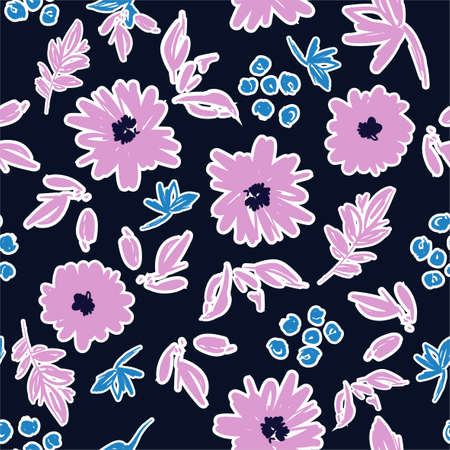 Stylish hand brushed stroke of blooming flower art paint mood seamless pattern in vector EPS10 ,Design for fashion, fabric,wallpaper,wrapping ,textile and all prints on navy blue background color