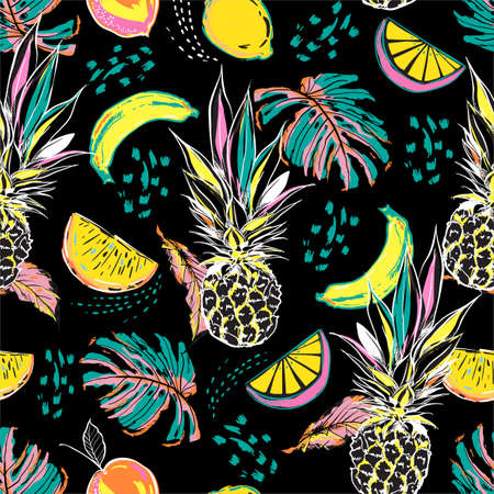 Colourful hand drawn sketch summer fruits ,pineapple, orange, lemon and leaves seamless pattern in vector Disign for all fashion, fabric and all print on black Vecteurs