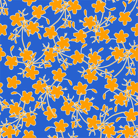 Colourful modern silhouette yellow meadow flowers seamless pattern in vector, pop art style design for fashion , fabric,web, wallpaper ,wrapping and all prints on fresh blue background