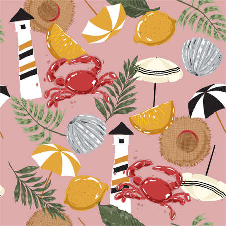 Beautiful seamless pattern hand drawn summer beach element , lighthouse,palm leaf, lemon,hat, umbrella, crab ,and shell illustration ,Design for fashion ,fabric,web,wallapper,wrapping ,textile and all prints