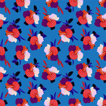 Colorful hibiscus flower in pop art style seamless pattern in vector ,Design for fashion fabric ,web,wallpaper,wrapping textile and all print on fresh summer blue balckground color  イラスト・ベクター素材
