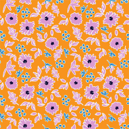 Colourful and cuties hand brushed stroke of blooming flower art paint mood seamless pattern in vector ,Design for fashion, fabric,wallpaper,wrapping ,textile and all prints on yellow background color